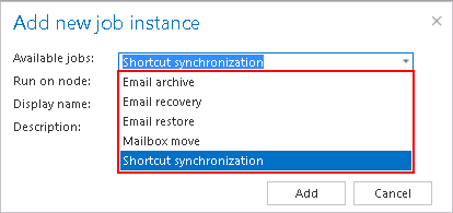 adding new shortcut synch job instance