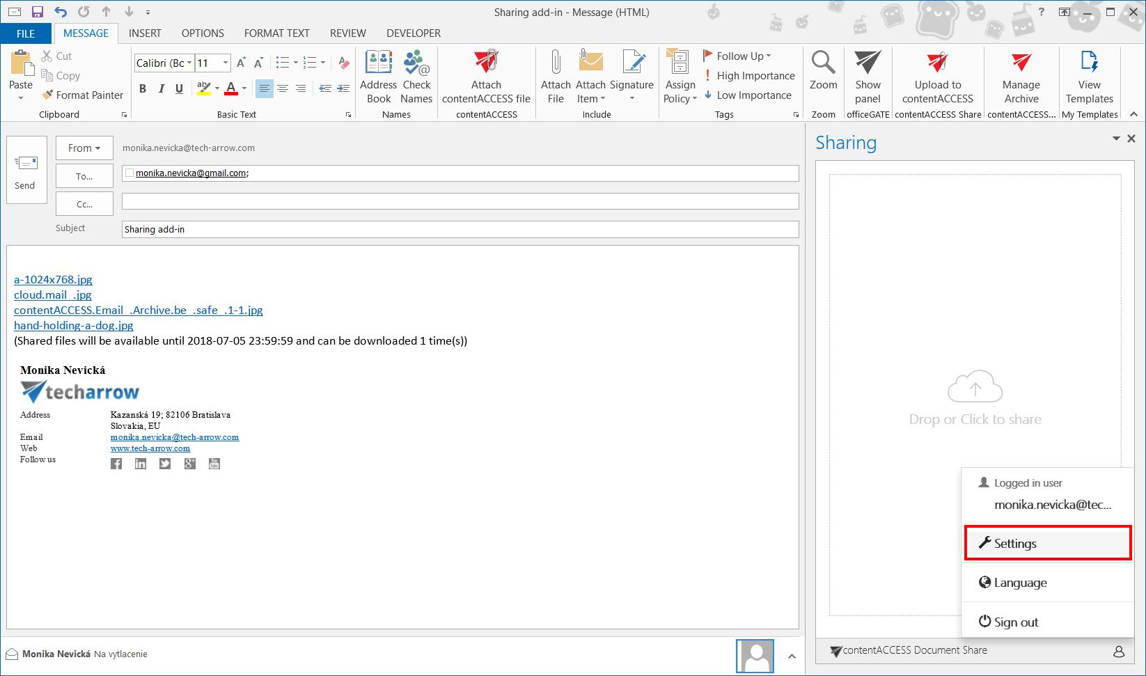 contentACCESS Sharing version 3 6 | TECH-ARROW Documentation Center